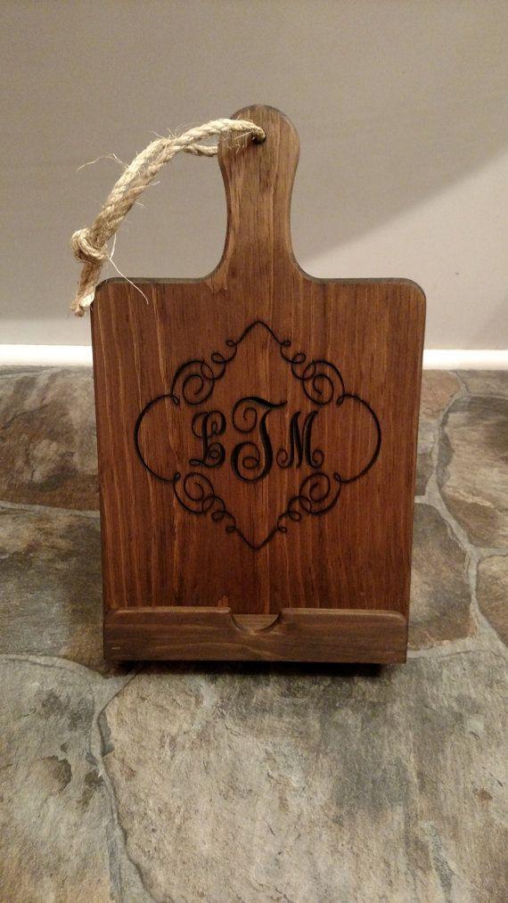 IPad Stand, Cookbook Stand, Dark Walnut Stain With Monogram Initials,  Cutting Board , Kitchen Stand, Wood Cookbook Holder