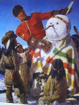 Canadian Mountie snowman Indian children RCMP print, Friberg