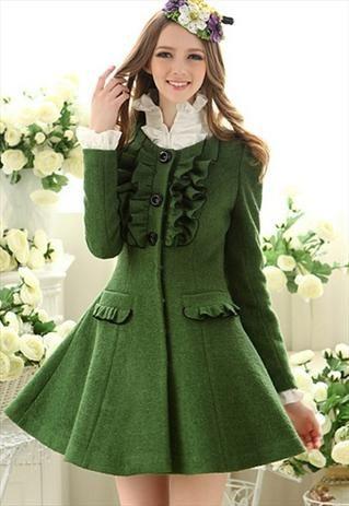 green elegant falbala cashmere coat final clearance g843