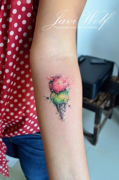 Javi Wolf Tattoo- watercolor ice cream