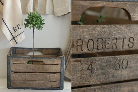 Vintage industrial milk crate weathered wood metal for Where can i buy wooden milk crates