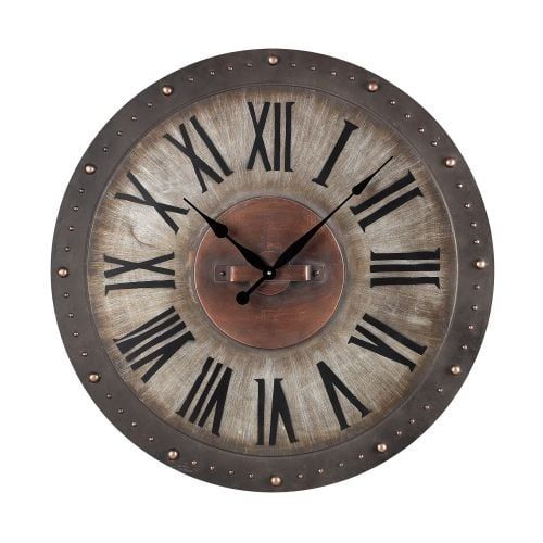 Sterling Industries 128-1005 2 Height Metal Roman Numeral Outdoor Wall Clock with Jardim Grey / Gold Finish