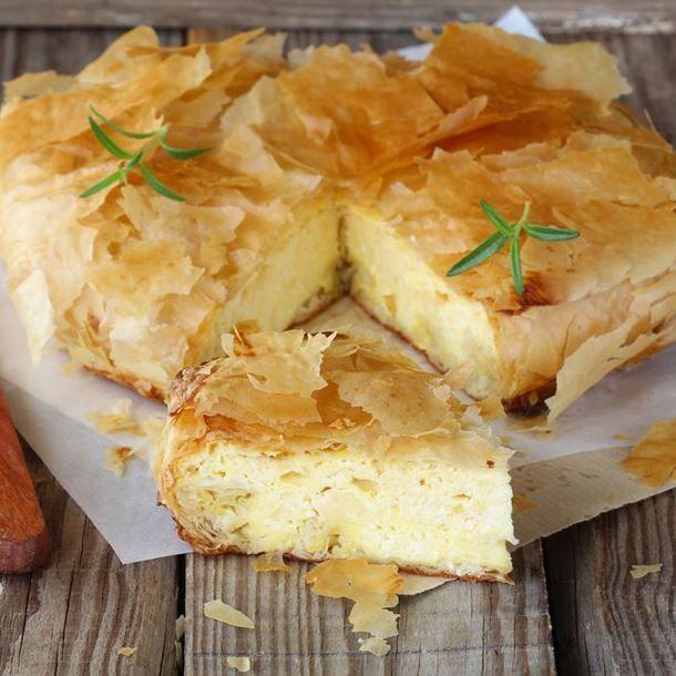 Cheese pie à la moutarde en feuilles de brick
