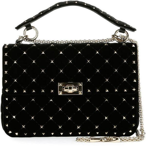 Valentino Rockstud Quilted Velvet Medium Shoulder Bag (69 430 UAH) ❤ liked on Polyvore featuring bags, handbags, shoulder bags, bolsas, purses, valentino, black, shoulder hand bags, valentino shoulder bag and quilted shoulder bags