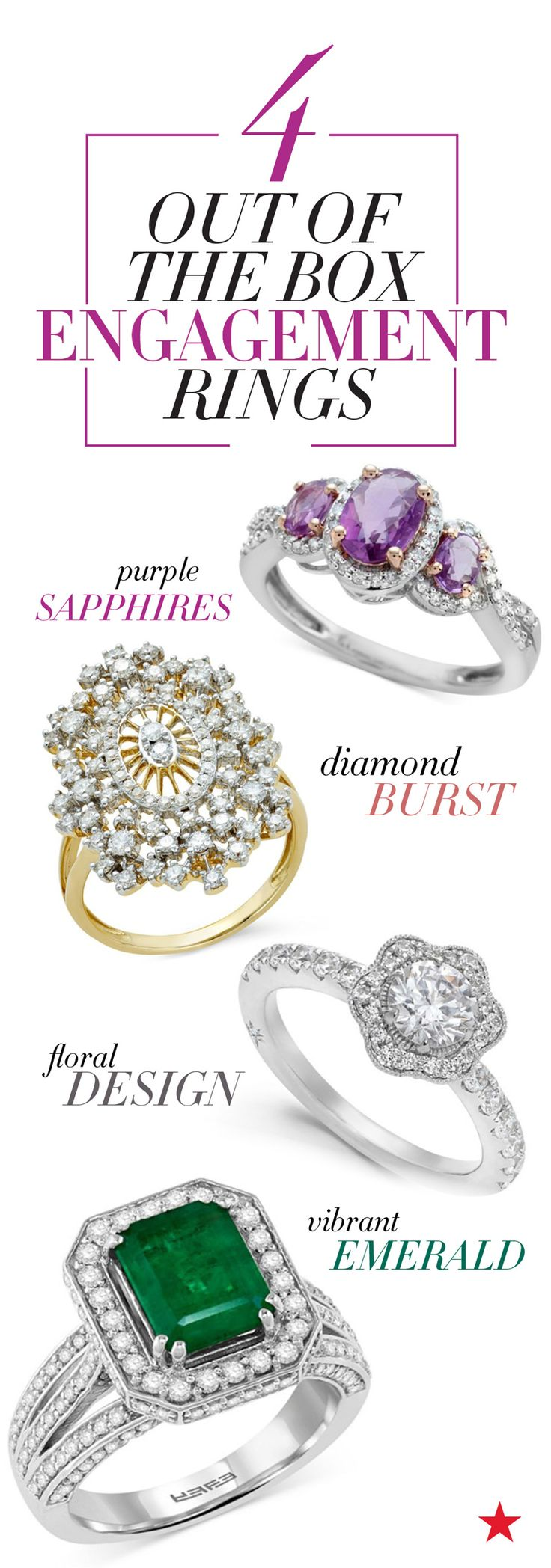Looking for an engagement ring that will truly impress? From bright colors to unique designs, the latest trend is all about thinking outside the (ring) box.