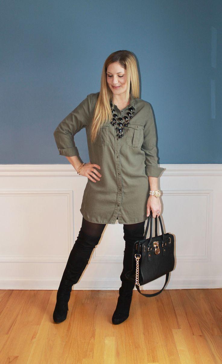 shirt dress, OTK boots, winter fashion, www.outfitted411.blogspot.com