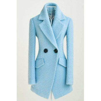 Simple All-Match Turn-Down Collar Solid Color Two Buttons Long Sleeves Waisted Blended Women's Coat