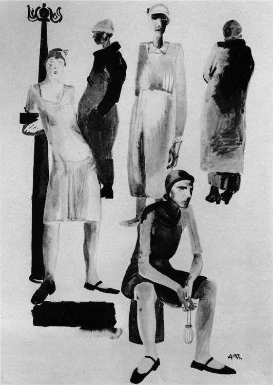 1929 Из цикла «Современная женщина». Рис. для ж. «Прожектор». Б., тушь, акв. 39,8x29,1 ГТГ - Дейнека Александр Александрович
