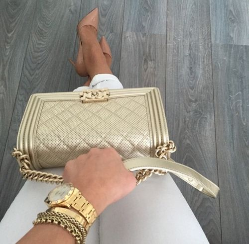// Pinterest @esib123 // #bags #purses gold chanel quilted boy bag