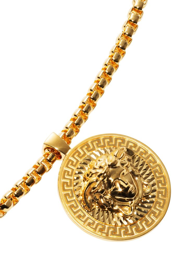 This bold gold Medusa necklace is a daring and provocative ...