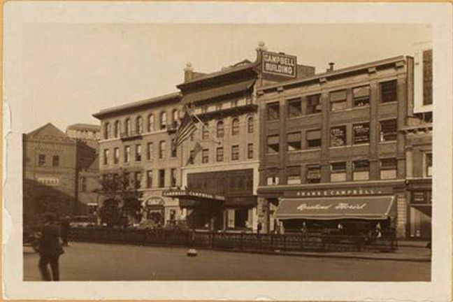Broadway at, adjoining, and south of the S. E. corner of W. 67th Street (left), showing respectively the Simpson Building, the Campbell Funeral Home and the Lincoln Square Building as viewed in a northeastward direction. To the left appears a portion of the subsequently demolished 1st Field Artillery Armory. This occupied the entire 67th 68th Street block, east from Broadway to Columbus Avenue. October 13, 1927 P. L. Sperr