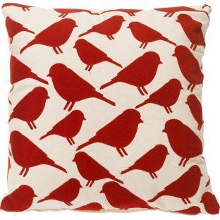 buy bird flock cushion 43x43cm red at. Black Bedroom Furniture Sets. Home Design Ideas