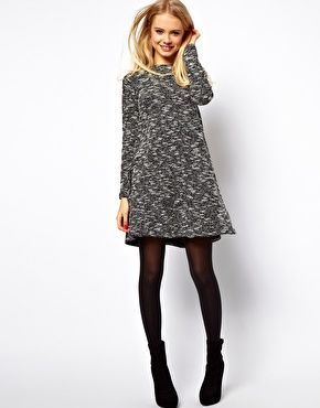 ASOS textured fabric swing dress. Chic winter look with opaque tights & ankle booties.