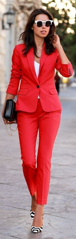 I LOVE this bold suit - suits in all one colors are great for lengthening the body - be sure to add a great pair of heels! | petite fashion
