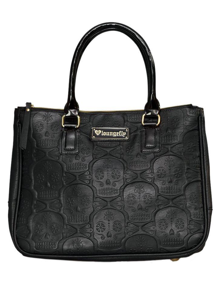 """Embossed Sugar Skull"" Double Handle Bag by Loungefly (Black) #InkedShop #skulls #bag #handbag #style"