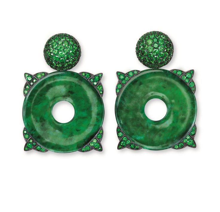 Hemmerle Earrings, silver, white gold, jade, tsavorite garnets