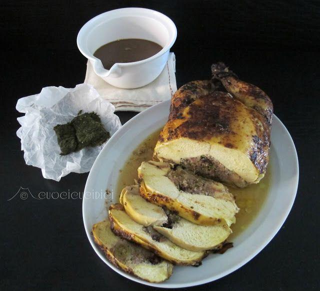 Il pollo ruspante ripieno di scalogni ripieni di pisatchhi con gravy al MArsala e foglie di broccoli di Flavia