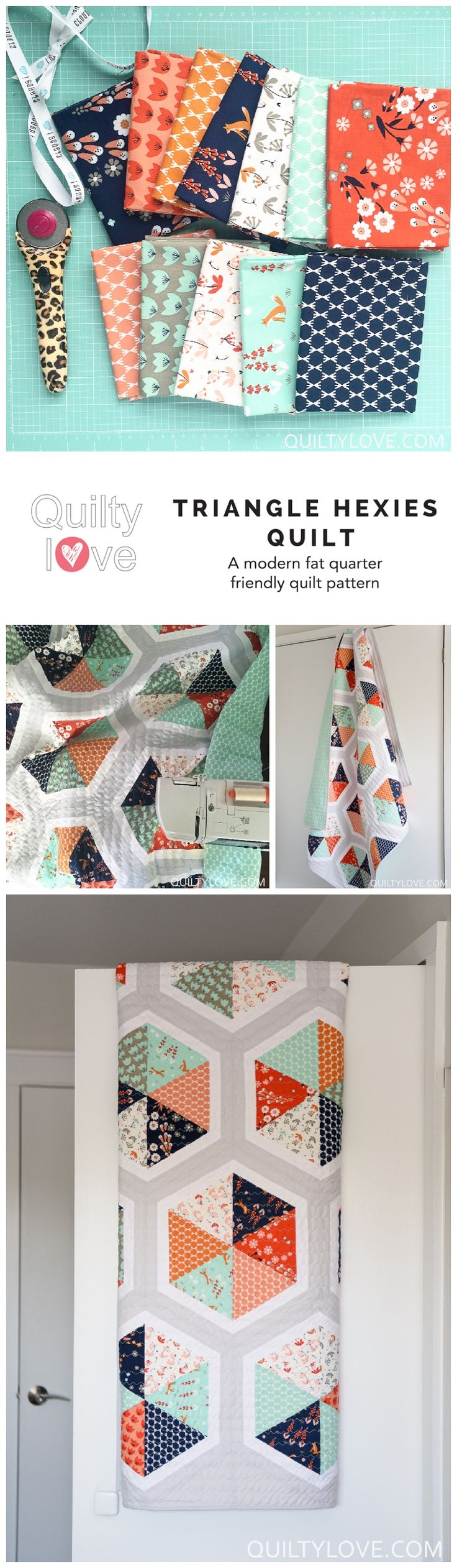Triangle Hexies quilt by emily of quiltylove.com. Modern hexagon quilt. Fat quarter friendly quilt pattern. Cloud 9 triangle hexies quilt.