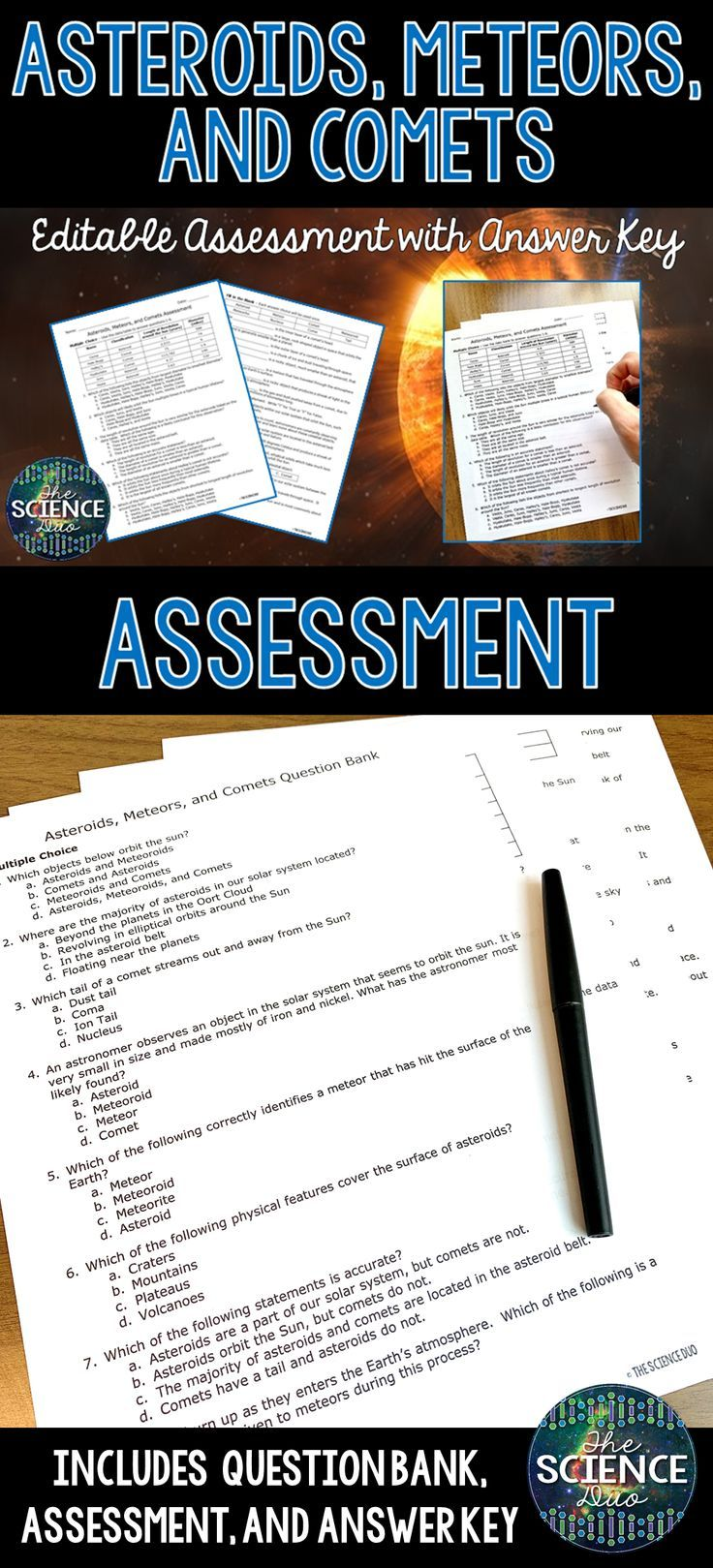 Asteroids Meteors And Comets Science Assessment Distance Learning Compatible Science Assessments Science Middle School Science Activities [ 1619 x 736 Pixel ]