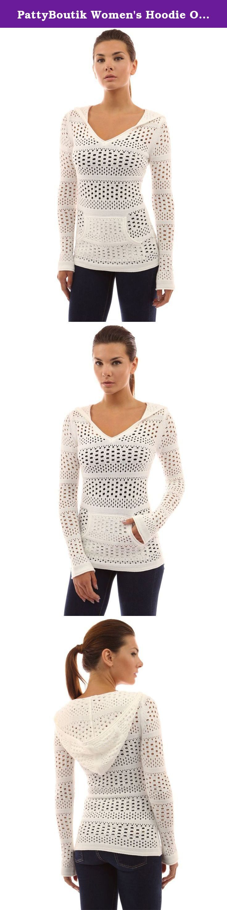 PattyBoutik Women's Hoodie Open Stitch Knit Top (Off-White S). Cotton Hoodie V Neck Long Sleeve Kangaroo Pocket Open Stitch Knit Top Poncho. The camisole is not included. Model in pictures is 5 feet 8 inches (173cm) tall wearing size S.