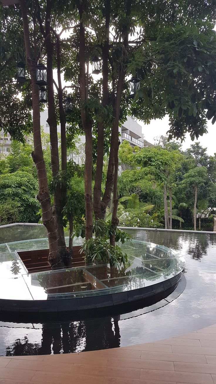 Hotel Indigo Seminyak Bali.. reflecting pool with Tree bar below..