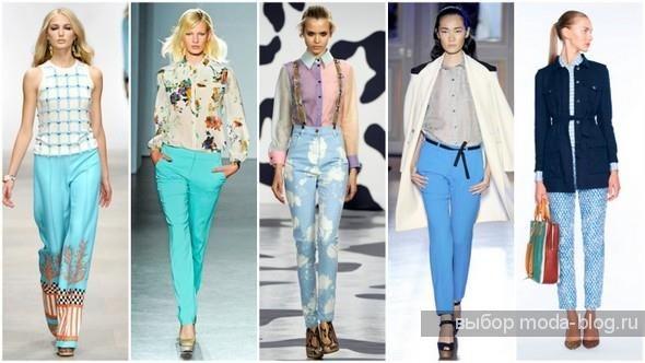 Купить спортивные брюки женские голубого бирюзового цвета