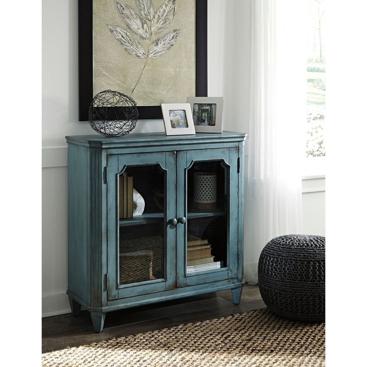 Signature Design by Ashley Mirimyn Antique Teal Accent Cabinet Chest