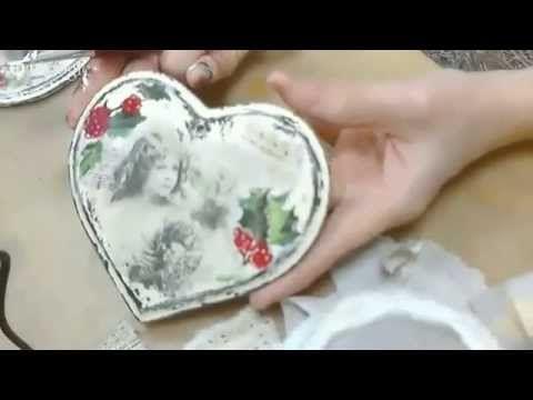 Видео мастер-класс «Сердечко в стиле Шебби Шик с рождественскими мотивами» Декупаж. Наталья Жукова - YouTube