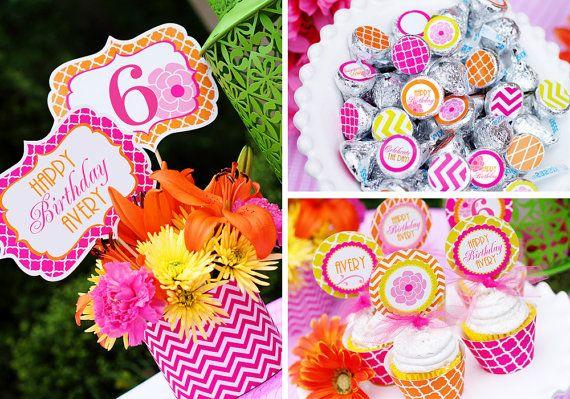 Flower Birthday Party Printables Set - Girl Birthday - Spring birthday - Garden Party - Adult- Chevron -  Amandas Parties To Go via Etsy
