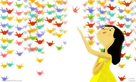 """Grúas de origami, Japonés, arte de habitación de la niña, decoración colorida - """"Deseos de papel"""""""