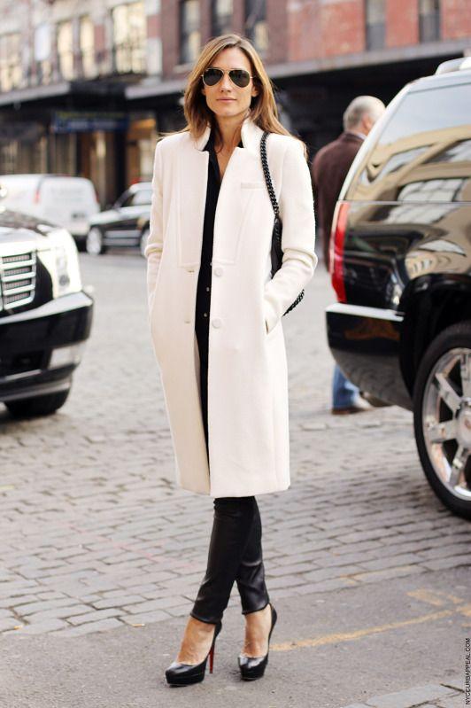 Classic style long white coat
