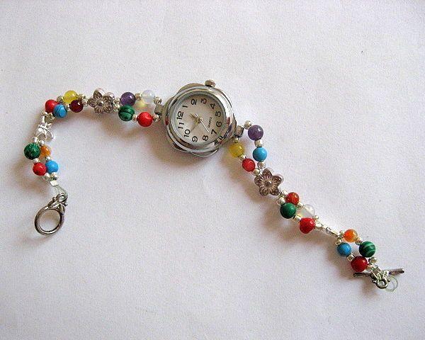 Bratara ceas cu cuart, agate, coral, turcoaz, malachit, jad, ametist, opal - idei cadouri femei