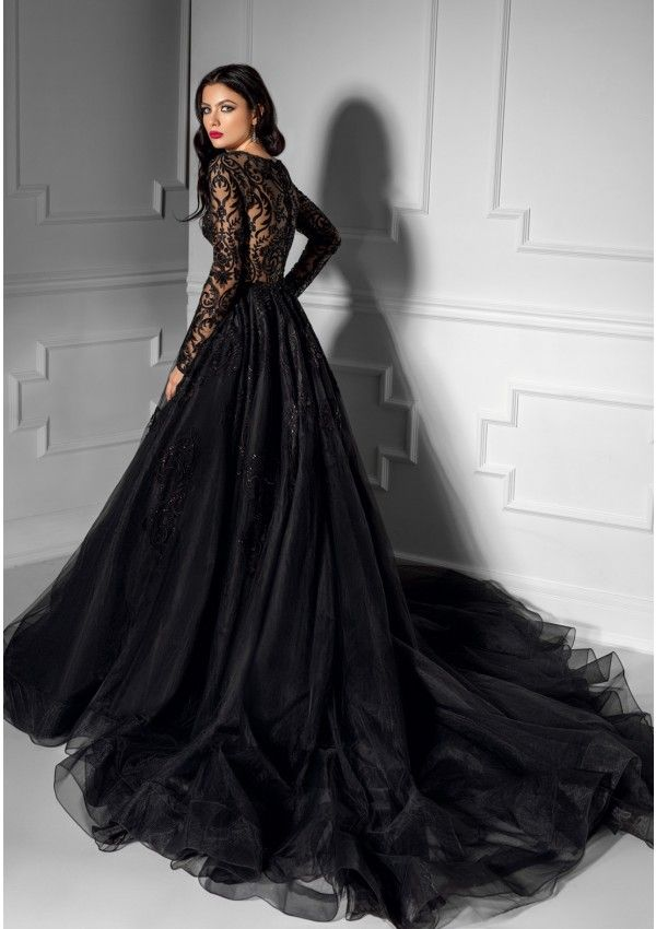 This Precious Evening Gown Is Made From The Most Refined Lace Finished With Layers Of Tulle And B Black Wedding Gowns Black Wedding Dresses Black Lace Wedding