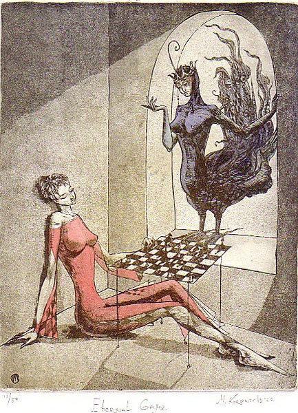 "Sirin – the half-woman, half-bird creature emerging from Russian mythology, which in all its many forms most closely approximates the figure of the Muse or Inspiration, soothing, gentle and incredibly lyrical. In an enigmatic etching, ""The Eternal Game,"" the Sirin appears in a vision before a woman playing a game of chess; following a mystical strain, the etching seems to suggest that the Sirin is the woman's alter ego and that the game she is really playing is a game of identity."