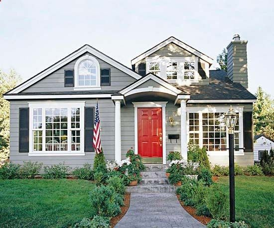 Gray house dark blue shutters charcoal gray roof red - What color door goes with gray house ...