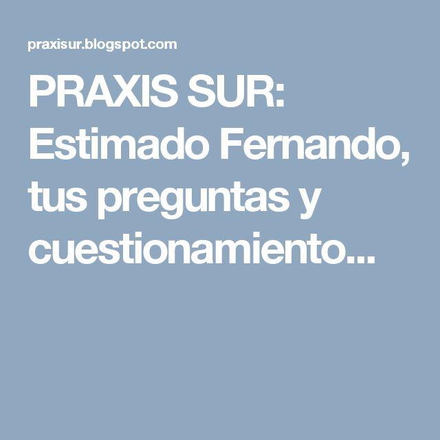 PRAXIS SUR: Estimado Fernando, tus preguntas y cuestionamiento...