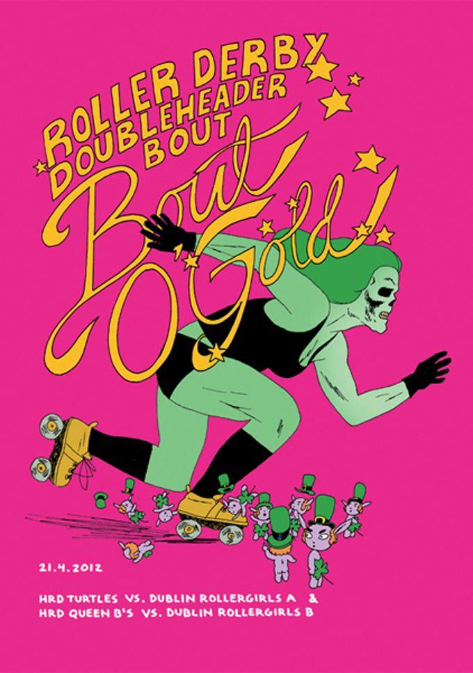 Helsinki Roller Derby poster by Marko Turunen