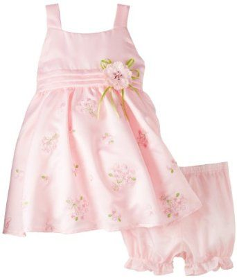 Nannette Baby-Girls Infant 2 Piece Embroidered Sateen Dress Set,