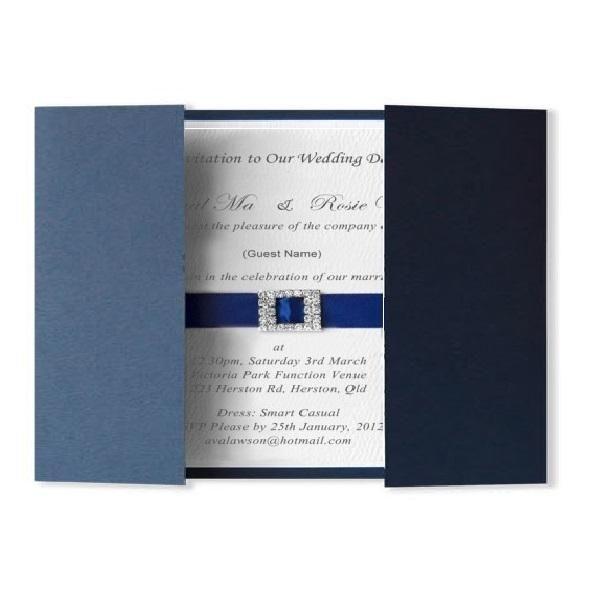 Olivia blue invitation - Handmade Wedding Invitations & Unique Stationery Online