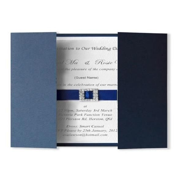 Olivia blue invitation - Handmade Wedding Invitations & Unique Stationery Online