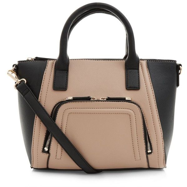 Camel Contrast Zip Pocket Structured Bag ($26) ❤ liked on Polyvore featuring bags, handbags, beige purse, zipper bag, beige handbags, vegan bags and pocket purse