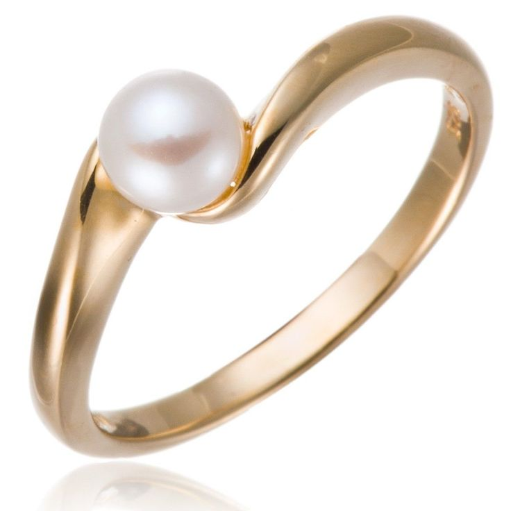18K Yellow Gold Over Silver Freshwater Cultured Pearl Ring (5-6Mm)