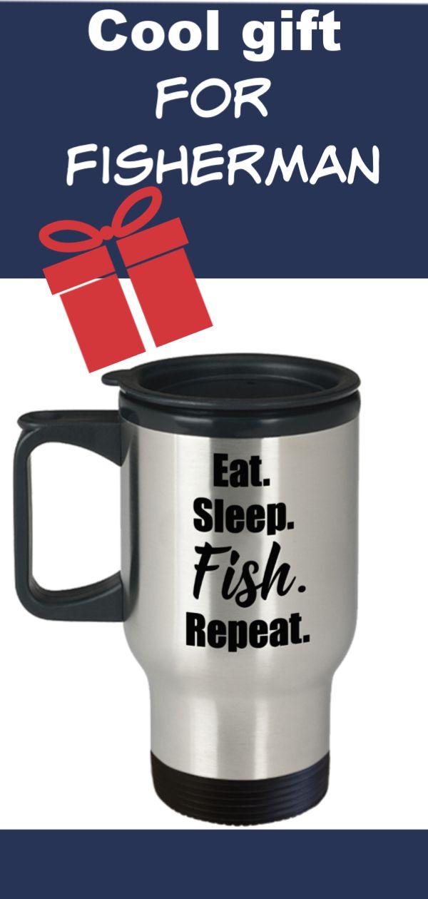 Fishing Travel Mug | Fishing Gifts For Men | Fishing Buddy Mug | Eat Sleep Fish Repeat | Gifts For Fishermen | Fishin Husband