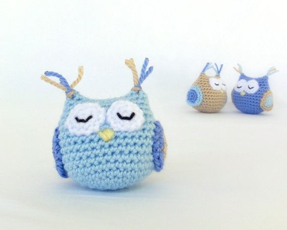Baby boy's toy. Homemade amigurumi owl. Crochet soft by ittooktwo, €7.50