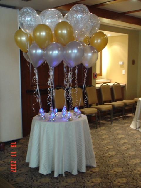 centros de mesa con luz en la base globos aperlados