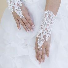 Hot koop hoge kwaliteit schrijven, Ivory vingerloze korte paragraaf elegante strass bridal handschoenen groothandel gratis verzending(China (Mainland))
