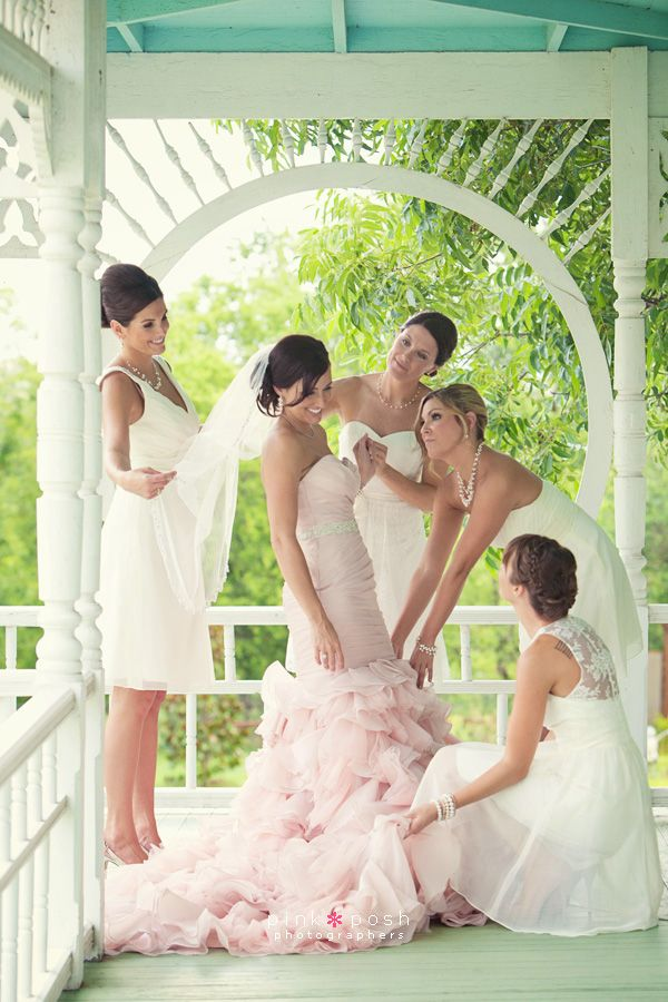 Pink Posh Photography   Austin Texas Outdoor Wedding   Barr Mansion   Blush Pink Maggie Sottero Divina Wedding Dress   White Bridesmaid dress