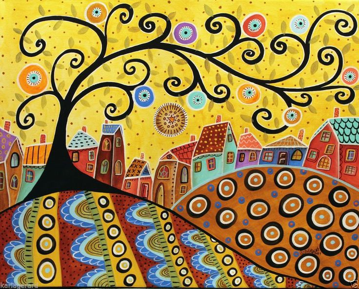 Blooming Village CANVAS Landscape PAINTING 16x20 inch ABSTRACT FOLK ART Karla G..new, just added..for sale..