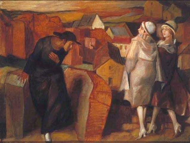 """The Meeting: A Jewish youth and two women in a city alley"", Bruno Schulz"