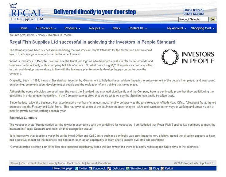 Regal Fish Supplies successful in achieving IIP standard